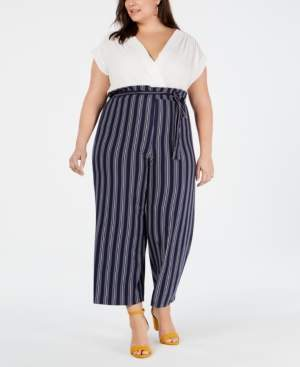 18db550e1cdb Solid   Striped Monteau Trendy Plus Size Jumpsuit
