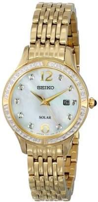 Seiko Women's SUT094 Stainless Steel Solar Watch with Diamonds