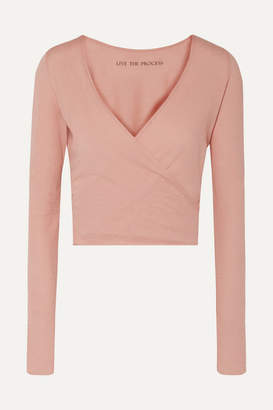 Live The Process Cropped Wrap-effect Cotton And Cashmere-blend Top - Blush
