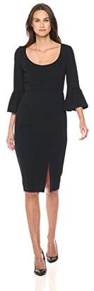 Donna Morgan Women's 3/4 Bell Sleeve Scoop Neck Crepe Sheath Dress