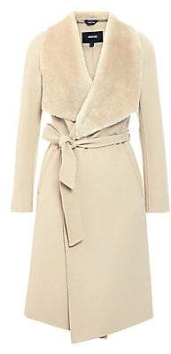 Mackage Women's Shearling-Trim Wool Wrap Coat