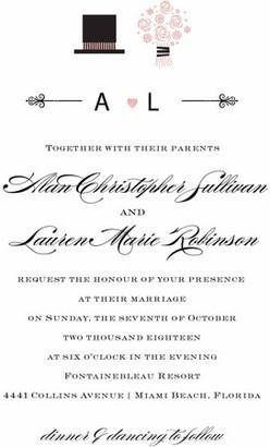 Gartner Digital Top Hat and Bouquet Standard Wedding Invitation