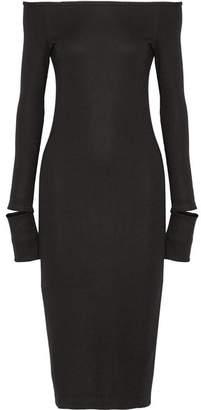 Helmut Lang Off-the-shoulder Wool-blend Dress - Black