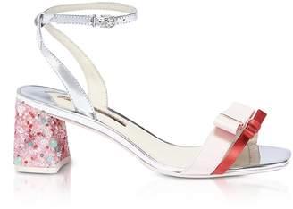 Sophia Webster Red Satin And Pink Leather Andie Mid Heel Sandals
