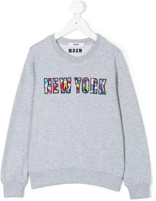 MSGM Kids New York bead embroidered sweatshirt