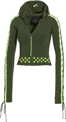 FENTY Womens Laced Sleeve Sweater Zip Hoodie