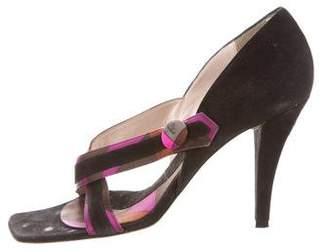 Emilio Pucci Suede Crossover Sandals