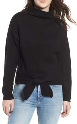 Love By Design Tie Hem Funnel Neck Sweater
