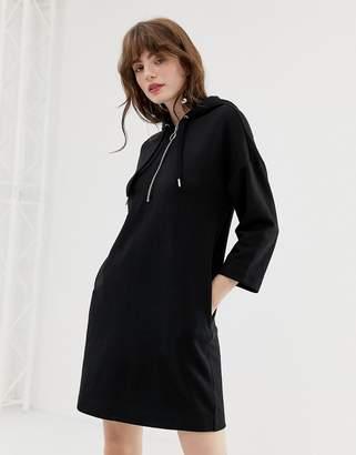 Monki hooded sweatshirt dress in black