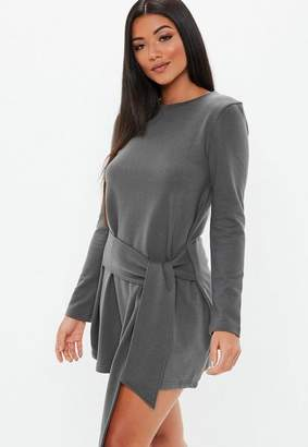 Missguided Dark Gray Tie Waist Sweater Dress