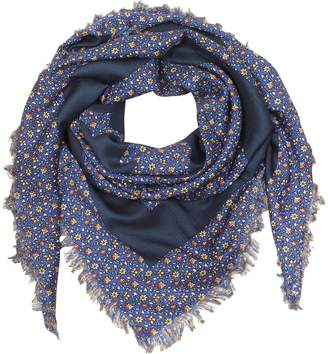 Tory Burch Wool Wild Pansy Logo Square Scarf