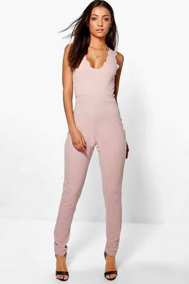 boohoo Tall Scallop Edge Plunge Jumpsuit