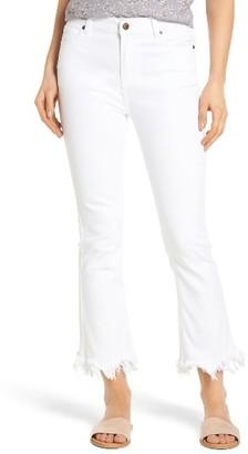 Moon River Women's Frayed Hem High Rise Crop Jeans