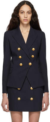 Balmain Blue Wool Double-Breasted Blazer