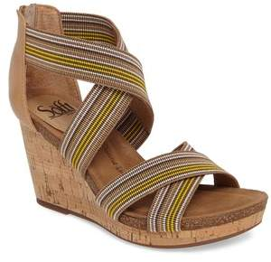 Sofft Cary Cross Strap Wedge Sandal