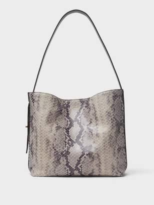 DKNY Snake Embossed Leather Medium Hobo