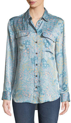 Equipment Signature Button-Front Long-Sleeve Floral-Print Blouse