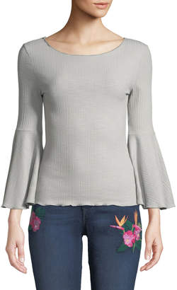 Haute Rogue Bateau-Neck Textured Flare-Sleeve Top