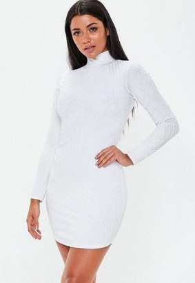 Missguided White High Neck Caviar Beaded Mini Dress