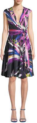 Josie Natori Prism V-Neck Abstract-Print A-Line Dress w/ Knot Detail