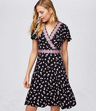 LOFT Petite Border Floral Wrap Dress