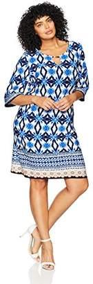 Sandra Darren Women's Plus Size 1 PC 3/4 Sleeve Printed ITY Key Hole Dress