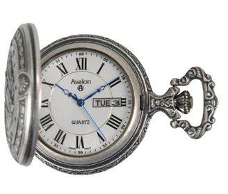 Avalon アンティークシルバートーンhorse-theme Quartz Pocket Watch with Chain # 8090sx