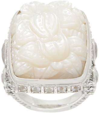 Stephen Dweck Sterling Silver Carved Mother of Pearl Ring