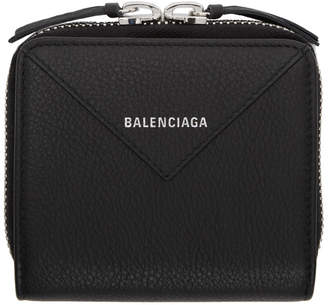 Balenciaga Black Square Papier Zip Around Wallet