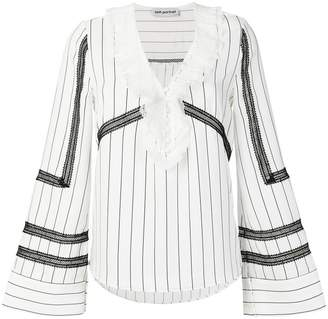 Self-Portrait lace trim pinstriped blouse