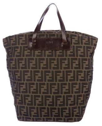 Fendi Leather-Trimmed Zucca Tote Brown Leather-Trimmed Zucca Tote