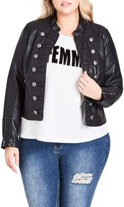 City Chic Faux Leather Military Jacket