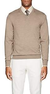 Luciano Barbera Men's Mélange Wool V-Neck Sweater - Beige, Tan