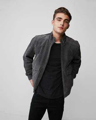Express Genuine Suede Zip Collar Bomber Jacket
