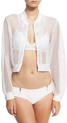 Ale by Alessandra Spring Training Mesh Bomber Jacket, White $120 thestylecure.com