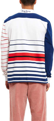 Opening Ceremony Blue Sleeve Multi Striped Rugby Top