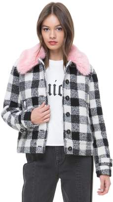Juicy Couture Faux Fur Collar Buffalo Check Jacket