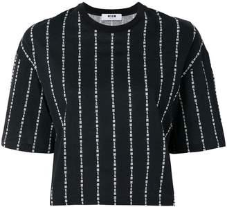 MSGM brand stripe cropped T-shirt
