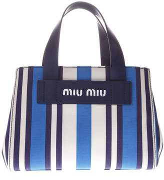 6fd35b7e07de Miu Miu Bag In Canvas With Striped Pattern Blue And White