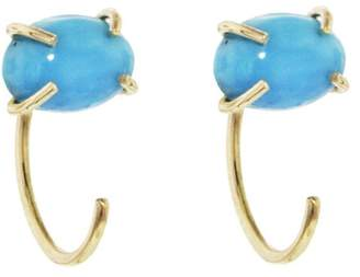 Melissa Joy Manning Turquoise Hug Hoop Earrings - Yellow Gold