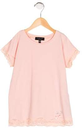 Twin-Set Twin.Set Girls' Lace-Trimmed Knit Top