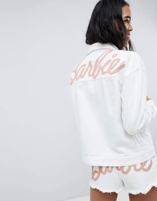 Missguided Barbie Logo Denim Jacket