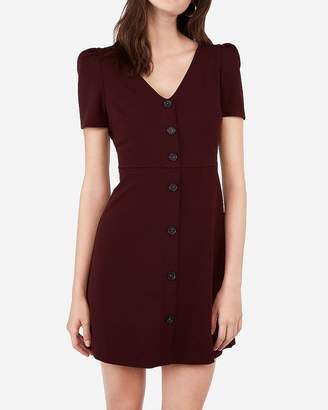 Express Puff Sleeve Button Front Fit And Flare Dress