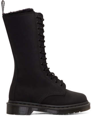 Dr. Martens Black Suede Fur-Lined 14-Eye Boots