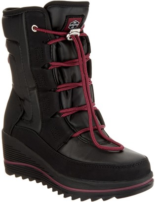Khombu Waterproof Lace-Up Wedge Winter Boots - Whitecap