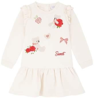 MonnaLisa Embroidered Bear Sweater Dress