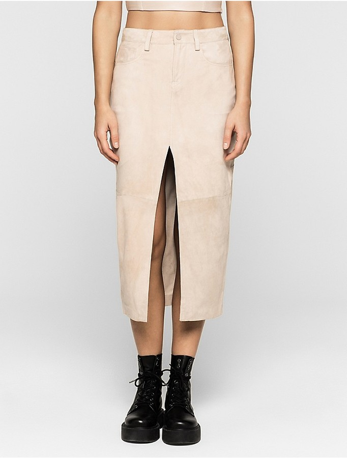 Calvin KleinModern Surplus Suede Midi Skirt