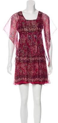 Anna Sui Printed Silk Mini Dress w/ Tags