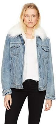 AVEC LES FILLES Women's Trucker Jacket with Detachable Faux Fur Lining