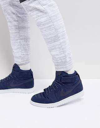 Jordan Nike Air 1 Retro High Strap Sneakers In Navy 342132-400